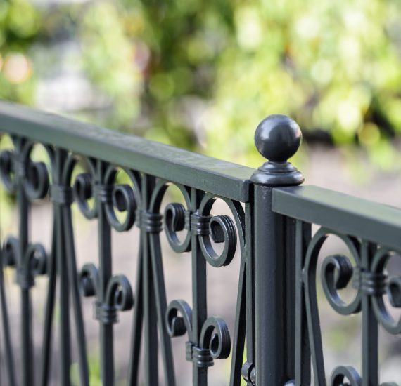 Wrought iron railings, grey